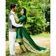 Handmade Afghan Green Tribal Dresses # 510