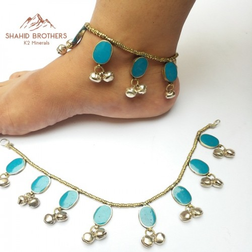 Turquoise stone belly dance anklet # 323