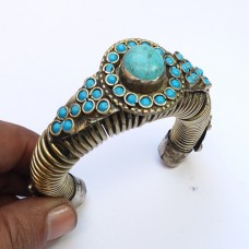 Afghan thick spring turquoise stone bracelet # 684