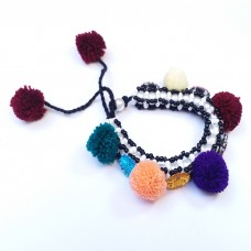 Adjustable multicolor Velvet Beads Bracelet # 709
