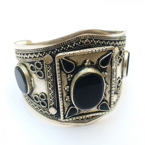 Handmade Antique Black Stone Bracelet-361