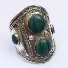Handmade Cuff Malachite Stone Tribal Bracelet # 406