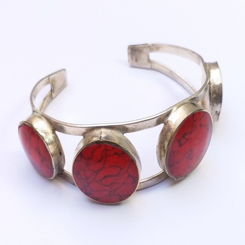 Afghani Tribal Red Antique Vintage Adjustable Bracelet # 775