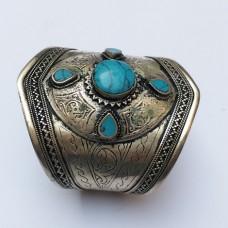 "Antique Kuchi afghan ""C"" shape tribal bracelet # 643"