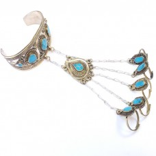 Kuchi Tribal Five fingers Turquoise stone Bracelet # 1054