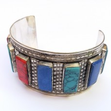 Turkman Vintage style multi stone cuff bracelet # 344