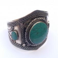 Afghani Tribal Bracelet with green gemstone # 622
