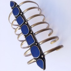 Afghani Tribal Antique blue stone Adjustable comb Bracelet # 694