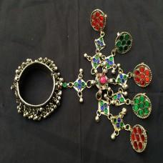 vintage kuchi afghan tribal cuff bracelet # 1028