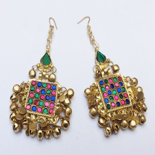 Vintage Afghan jewellery golden earring with bells-1096