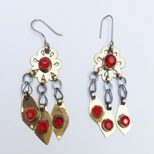 Pair of silver Turkmen earrings wrought with carnelian and gold inclusions, made byTekke Turkoman tribes, Afghanistan-1130
