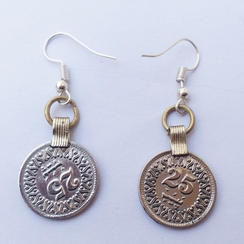 antique old tribal coins earring-1155