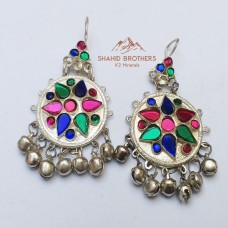 Afghan Tribal Antique Design Earrings # 819