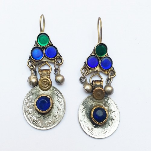 Antique drop old coin earring-318