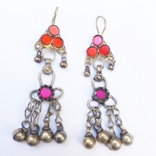 Afghan tribal drop beaded earrings-373