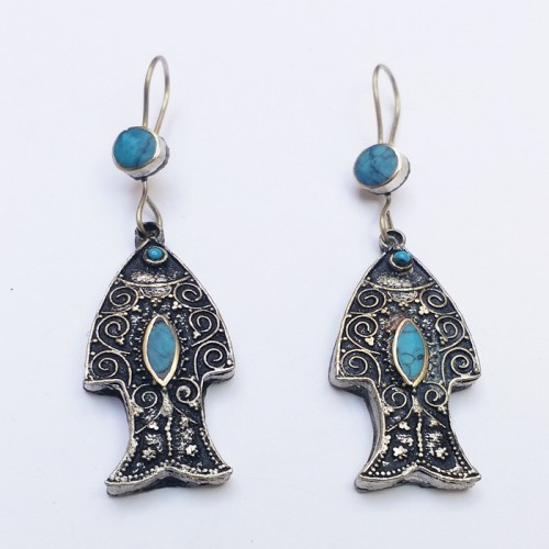 Antique Gypsy Style fish Earrings-376