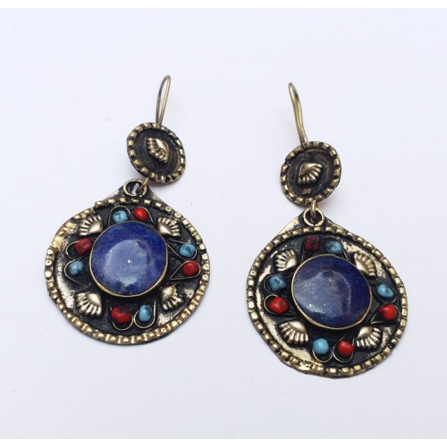Gypsy Style Lapis gold drop earring-563