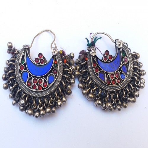 Antique tribal glitter moon Earring-81