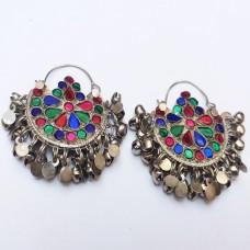 Afghan Tribal Antique Design Multivolor drop Earrings # 820