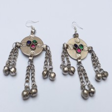 Afghan Tribal multicolor cross dongal earrings # 854