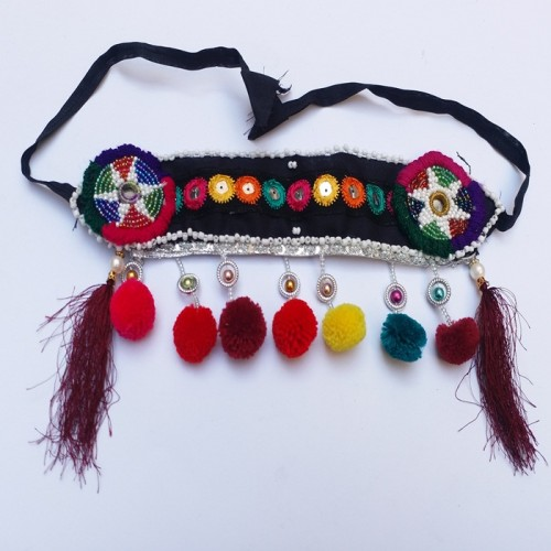 Afghan Headpiece Hair Jewelry with Glass & pearls-900