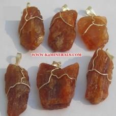 hessonite stone wire pendants-442