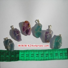 Fluorite stone wire pendants-444