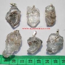 diamand quortz stone wire pendants-446