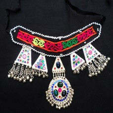 Tribal fabric collar beaded necklace-787
