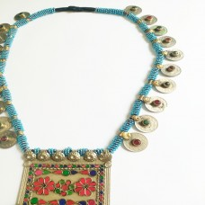 Vintage coins tribal afghan metal pendant necklace-1045