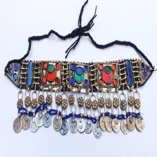 Vintage tribal afghan metal ethnic necklace-1067