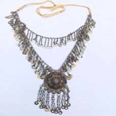 Turkman tribal necklace with adjustable string-269