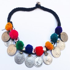 AfghanI coin tribal necklace with cotton balls-965