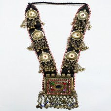 tribal afghan silver metal pendant necklace-1169