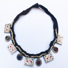 Kuchi tribal necklace old coins-856