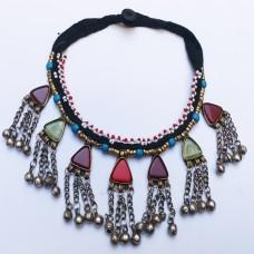 Gypsy afghan antique vintage necklace-94