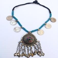 Tribal beaded pendant antique choker-103