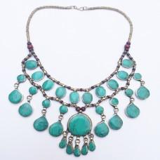 Bohemian tribal kuchi Aqua green stone Necklace-370