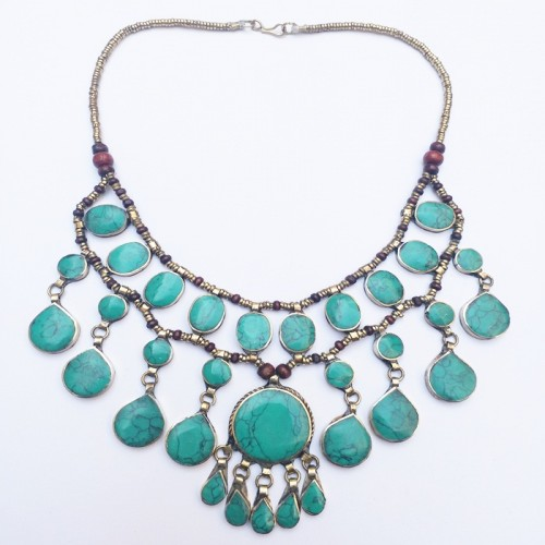 Bohemian tribal kuchi Aqua green stone Necklace-370