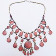 Ethnic Kuchi tribe red stone necklace-372