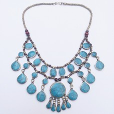 Nomad Kuchi tribal turquoise necklace-9
