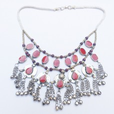 Gypsy red Kuchi tribal necklace-284