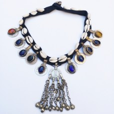 Tribal seashell multicolour gem stone necklace-299