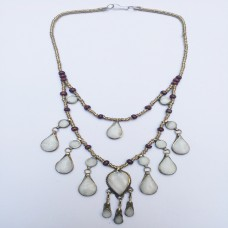 White pendants Vintage Necklace-433