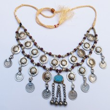 Afghani kuchi tribe coin necklace-440