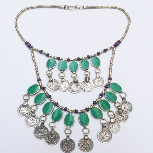 Afghan Kuchi Tribal Metal Coins Necklace-981