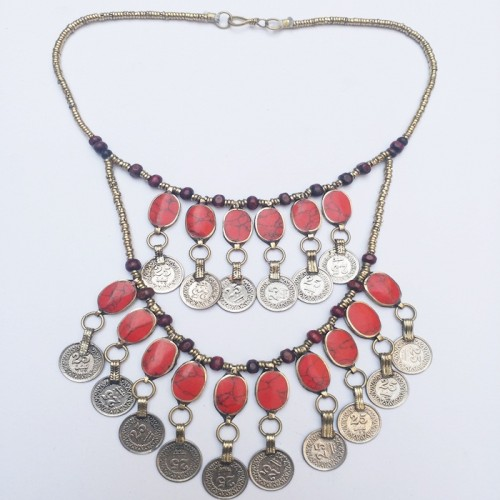Afghan Kuchi Tribal Metal Coins Necklace-982