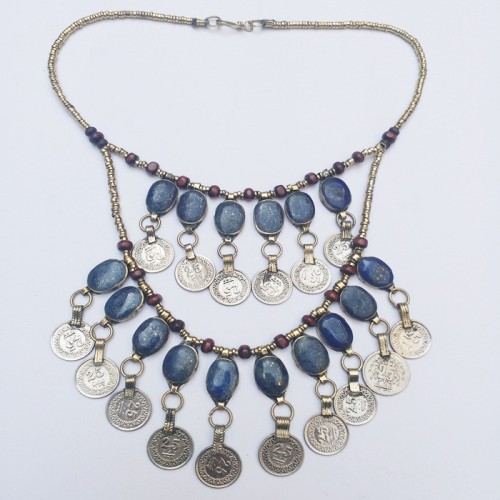 Afghan Kuchi Tribal Metal Coins Necklace-983