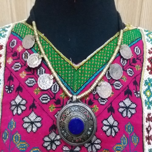 Tribal Afghan Pendant Necklace-1156