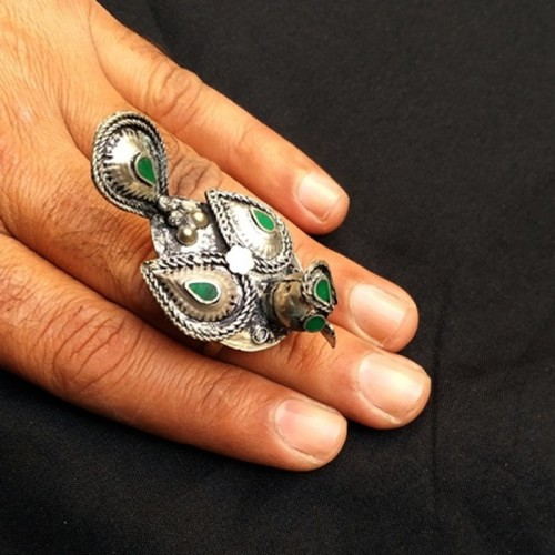 Vintage Afghan Tribal Bird shape Ring-1041